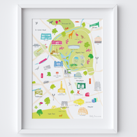 Illustrated hand drawn Map of Regent's Park, London art print by artist Holly Francesca.
