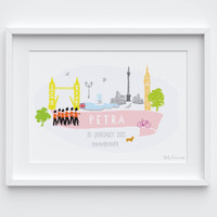 Illustrated hand drawn London-themed Name art print by artist Holly Francesca.