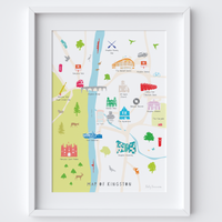 Illustrated hand drawn Map of Kingston art print by artist Holly Francesca.