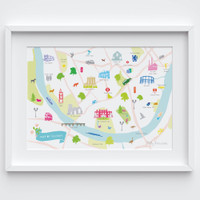 Illustrated hand drawn Map of Fulham art print by artist Holly Francesca.