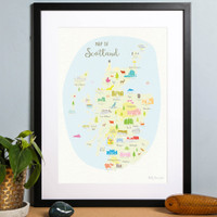 Illustrated hand drawn Map of Scotland by UK artist Holly Francesca.