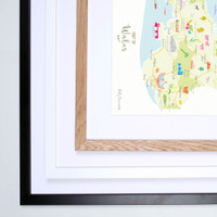 Illustrated hand drawn Map of Wales by UK artist Holly Francesca.