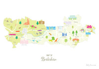 Map of Berkshire in South West England Unframed print illustration