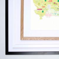 Map of Berkshire in South West England framed print illustration