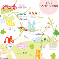 Map of Surrey South West England Unframed print illustration