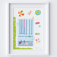 Illustrated hand drawn Swimming Pool scene art print by artist Holly Francesca.