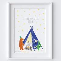 Illustrated hand drawn Tipi Bear Adventure scene art print by artist Holly Francesca.