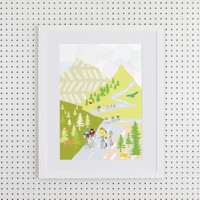 Illustrated hand drawn Cycling in the Mountains art print by artist Holly Francesca.
