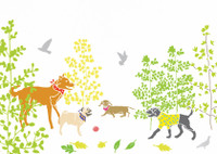 Illustrated hand drawn Dogs in the Park scene art print by artist Holly Francesca.