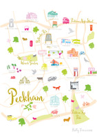 Illustrated hand drawn Map of Peckham art print by artist Holly Francesca.