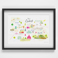 Map of Edinburgh Art Print illustration framed by artist Holly Francesca