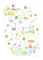 Map of Cardiff Art Print illustration unframed by artist Holly Francesca