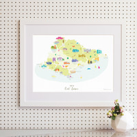 Map of East Sussex in South East England framed print illustration