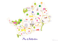 Map of Hertfordshire in South England Unframed print illustration