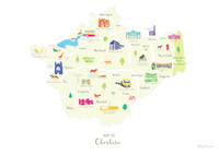 Map of Cheshire in North West England unframed print illustration