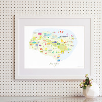 Map of Kent in South East England framed print illustration