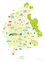 Map of Cumbria in North West England unframed print illustration