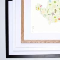 Map of Derbyshire in The Midlands England framed print illustration