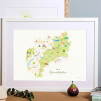 Map of Gloucestershire in The Cotswolds South West England framed print illustration