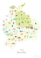Map of Lancashire in North West England Unframed print illustration