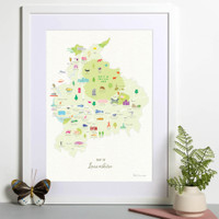 Map of Lancashire in North West England framed print illustration