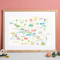 Illustrated hand drawn Map of Paris art print by artist Holly Francesca.