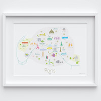 Illustrated hand drawn Map of the Arrondissements of Paris art print by artist Holly Francesca.