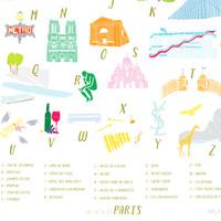 A to Z of Paris Art Print