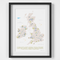 Illustrated hand drawn Map of the National Parks of the UK and Ireland art print by artist Holly Francesca.