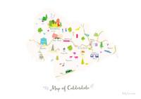 Map of Calderdale art print illustration unframed by artist Holly Francesca