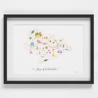 Map of Calderdale art print illustration framed by artist Holly Francesca
