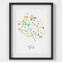 Illustrated hand drawn Map of York art print by artist Holly Francesca.