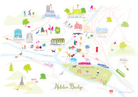 Illustrated hand drawn Map of Hebden Bridge art print by artist Holly Francesca.