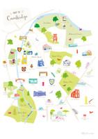 Map of Cambridge Art Print illustration unframed by artist Holly Francesca