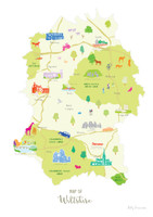 Map of Wiltshire South West England Cotswolds Unframed print illustration