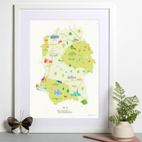 Map of Wiltshire South West England Cotswolds framed print illustration