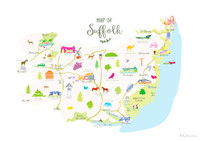 Map of Suffolk East Anglia England Unframed print illustration