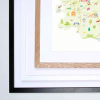 Map of Suffolk East Anglia England framed print illustration