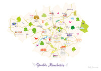 Map of Greater Manchester in North West England Unframed print illustration