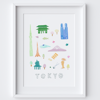 Illustrated papercut Tokyo landmark buildings art print by artist Holly Francesca.