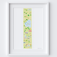 Illustrated hand drawn Map of Central Park, New York City art print by artist Holly Francesca.