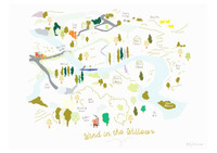 Illustrated hand drawn Map of Wind in the Willows story book art print by artist Holly Francesca.