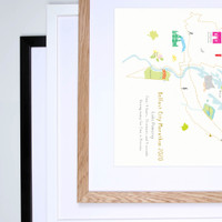 Illustrated hand drawn Belfast Marathon Route Map art print by artist Holly Francesca.