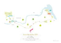 Illustrated hand drawn Great North Run Half Marathon Route Map art print by artist Holly Francesca.