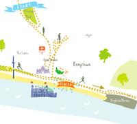 Illustrated hand drawn Brighton Marathon Route Map art print by artist Holly Francesca.