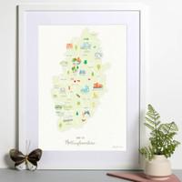 Map of Nottinghamshire The Midlands England framed print illustration