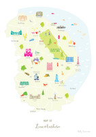 Map of Lincolnshire in East England Unframed print illustration