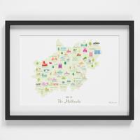 Map of The Midlands England framed print illustration