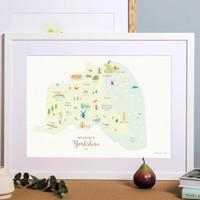 Map of East Yorkshire in North East England framed print illustration