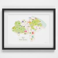 Map of North Yorkshire North East England framed print illustration